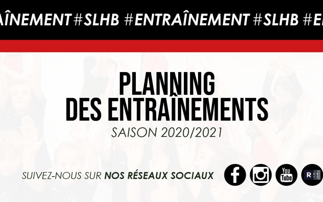 Planning des entraînements 2020/2021